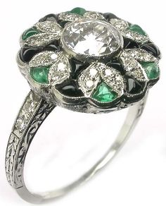 Art Deco platinum diamond emerald and onyx ring  - New York Estate Jewelry