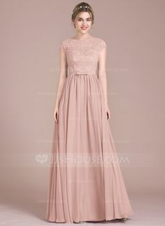 A-Line/Princess Scoop Neck Floor-Length Bow(s) Zipper Up Sleeves Short Sleeves No Other Colors Spring Summer Fall Winter General Plus Chiffon Lace Height:5.7ft Bust:33in Waist:24in Hips:34in US 2 / UK 6 / EU 32 Bridesmaid Dress