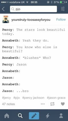 Oh my gods Percy and Jason's bromance.
