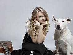 Taylor Swift and Her Bull Terrier Wallpapers
