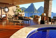 Jade Mountain.  There are infinity pools in each room.  The room has three walls, the fourth wall is that view!