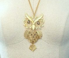 Big Golden Articulated Owl Necklace by thedepo on Etsy,