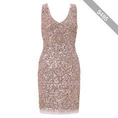 Aidan Mattox Double-V Cocktail Dress, Rose Gold