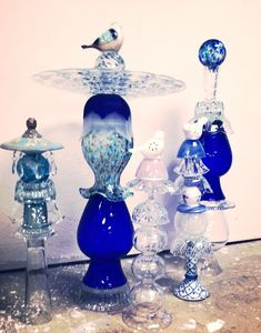 Glass Yard Art - totems from repurposed dishes