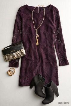 For the work holiday party or the family Christmas celebration, this holiday outfit works for all of your winter get-togethers. Featured product includes: Apt. 9 shift dress, Juicy Couture JC 700 ruched wristlet, Candie's stacked high heels and Jennifer Lopez tassel lariat necklace, glittery hinged bangle bracelet and crushed ice hinged bangle bracelet. Find your holiday style at Kohl's.