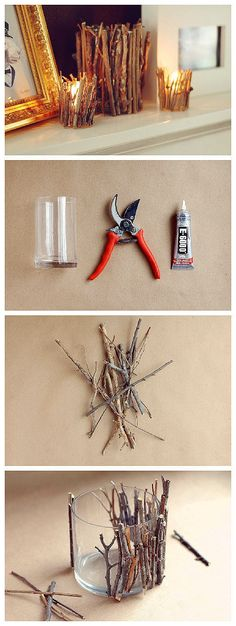 candle holder DIY - zzkko.com GAH! I love this! nature is so wonderful. This would look beautiful indoors and outdoors!