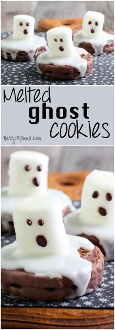 These super-easy mlted ghost cookies will be a lifesaver for last-minute halloween parties.