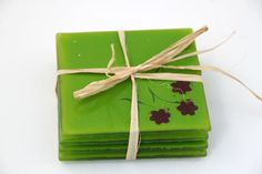 Fused Glass Coasters  set of 4 green red flowers by virtulyglass, $32.50