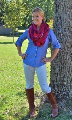 loving her scarf, boots and the chambray top {perfect for fall} can't wait to try with darker jeans and a solid infinity scarf. maybe white?:)