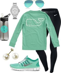 Untitled #312 by lynley1 featuring a nike activewear ❤ liked on PolyvoreNike activewear / FOSSIL stainless steel jewellery / Cultured pearl jewelry / Ray-Ban aviator style sunglasses, $195 / Boys T-Shirts: Long-Sleeve Vintage Graphic T-Shirt - Vineyard Vines / FILTERED Monogrammed Camelbak Water Bottle. Perfect Bridesmaid,…