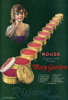 Rouge advertisement from the 1920's advertising the 'mask of beauty' so prevalent in the 1920's.