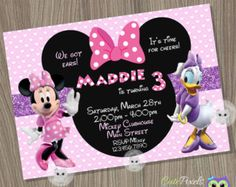 Minnie Mouse and Daisy Invitation Printable Minnie Mouse and