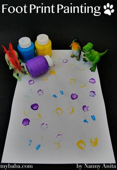 A great toddler approved craft - Foot print painting. Dip the feet of small world play objects into paint and them stamp them all over the paper. Painting Activities, Baby Activities, Things To Do Inside, Crafts For Kids, Arts And Crafts, Small World Play, Footprint, Entertaining, Holidays