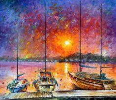 """Decoración de la pared náutica - barcos de la libertad — Paleta cuchillo mar óleo sobre lienzo por Leonid Afremov. Tamaño: 36 """"X 30"""" pulgadas (90 cm x 75 cm)"""