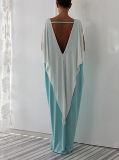 Pale Mint and off white elegant Open Back by cherryblossomsdress