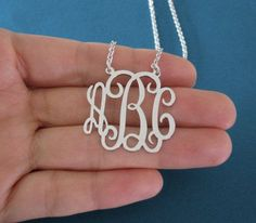 Personalized Monogram Necklace in Sterling Silver Monogram