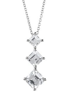 Sterling Silver Graduated Squares CZ Necklace