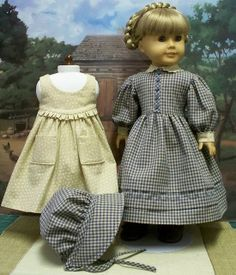 1854 Gingham Gown and Bonnet, Caliaco Pinafore by Keepersdollyduds, via Flickr