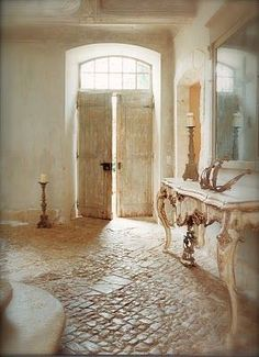 Castles Crowns and Cottages: French Day Dreaming (foyer,vintage,interior design,door) Love the floor for cob house.