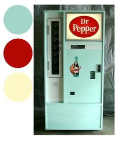 Dr. Pepper Soda Machine - Teal, Red, and Cream Colors