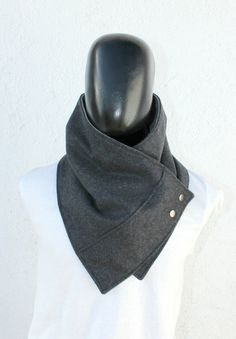 Unisex scarf. Men and women cowl,Wide, Dark grey wool with metalic snaps . Trendy, modern, chunky and cozy.