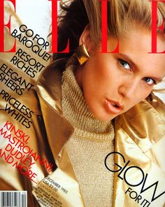 Ashley Richardson - Elle US, December 1985 Fashion Mag, Fashion Cover, 80s Fashion, Editorial Fashion, High Fashion, Elle Magazine, Magazine Covers, Magazine Rack, Ashley Richardson