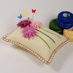 Hand Embroidered Pincushion or Small Pillow - Three Pink Dimensional Daisies on Straw Wool Felt   Flickr - Photo Sharing!