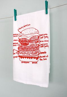cheeseburger kitchen towel by girls can tell Dish Towels, Tea Towels, Blue Ribbon, Kitchen Towels, Hostess Gifts, Screen Printing, My Love, Hamburger Buns, Prints