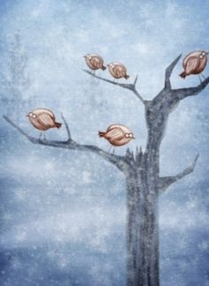 5 birds in a tree! Cute Wallpapers, Birds, Painting, Art, Art Background, Pretty Phone Backgrounds, Painting Art, Kunst, Bird