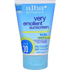 Alba Botanica Very Emollient Natural Sun Block - Mineral Protection for Kids SPF 30 - 4 oz