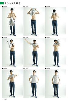 「男性 Tシャツ 着る ポーズ」の画像検索結果