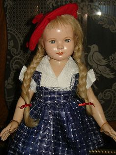 Vintage Composition American Child Anne Shirley Doll by Dewees Cochran for Effanbee - Replaced Dress 1936