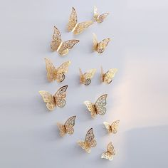 12pcs/set 3D Butterfly Wall Stickers Removable Mural Stickers DIY Art Wall Decals Decor with Glue for Bedroom Wedding Party--Gold - Walmart.com