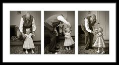 Triptych Photographs - Grandfather dancing with little granddaughter