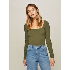 Miss Selfridge Khaki Square Neck Crop Top ($20) ❤ liked on Polyvore featuring tops, khaki, khaki crop top, cut-out crop tops, fitted tops, long sleeve tops and square neck long sleeve top