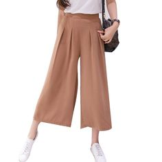 2016 Summer Street Fashion Trousers Solid Elastic Leisure Wide Leg Pants Waist Casual Baggy Pants Women on http://ali.pub/cdir4