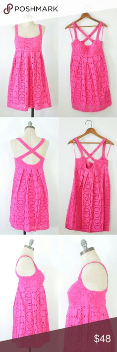 """Pink Eyelet Dress   pink Embroidered Dress   Small Pink eyelet cotton dress w/softly padded cups, empire waist, pleated full skirt, back crossing shoulder straps, fully lined, hidden side zip.  -MEASUREMENTS- Tag Size: 4P Length: 34"""" Chest: 34"""" Waist: 38"""" Hips: 40"""" Hem: 40""""  BRAND: I.N.C. International Concepts CONDITION: perfect, only worn once INC International Concepts Dresses Mini"""