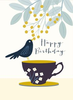Cute Birthday Quotes, Happy Birthday Quotes For Friends, Happy Birthday Wishes Cards, Best Birthday Wishes, Happy Birthday Pictures, Happy Birthday Illustration, Today Is Your Birthday, Zentangle, Motif Floral