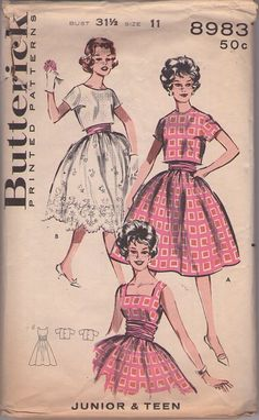 Butterick 8983 Vintage 50's Sewing Pattern DELIGHTFUL Fancy Rockabilly Square Neck, Eyelet Scalloped Skirt Cocktail Party Dress, Ruched Waist, Topper Jacket