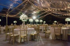 Wedding clear tent at Arlington Hall lower garden with cafe lights