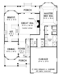 Country Style House Plan - 3 Beds 2.50 Baths 2037 Sq/Ft Plan #929-522 Floor Plan - Main Floor Plan