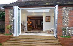 Nana Folding Glass Doors on Corner Open to Patio | Kitchens ...