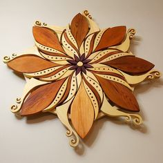 Flower Vortex, wooden mandala art by gardenelfcreations on Instagram