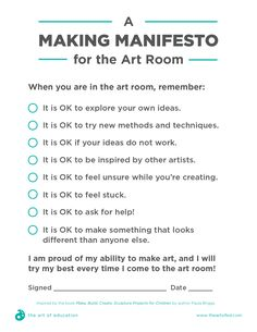 A Making Manifesto to Help Your Students Take More Risks - Art Education ideas Art Education Lessons, Art Lessons, Art Education Projects, Education Logo, Life Lessons, Art Projects, High School Art, Middle School Art, Art Room Posters
