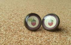 Eikel oorbellen bronzen oorbellen klein cadeau glas door NiteOwl15