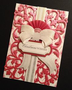 Elegant Red and Ivory Dimensional Christmas Card with Anna Griffin Papers