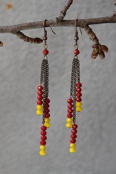 Earrings - yellow and red MY HANDMADE YEWELRY https://it.pinterest.com/mteresacostanzo/my-handmade-jewelry/