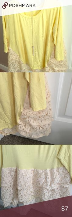 Yellow fun top. Only worn a few times this a great comfortable shirt with lace beautiful lace detail on the back. fanastic fawn Tops Blouses