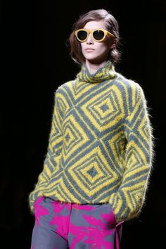 Bold colour combinations were a feature of Dries Van Noten's collection, such as this yellow and puce combo.