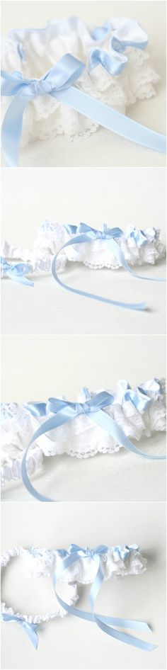 Custom white lace and light blue wedding garter set- by The Garter Girl